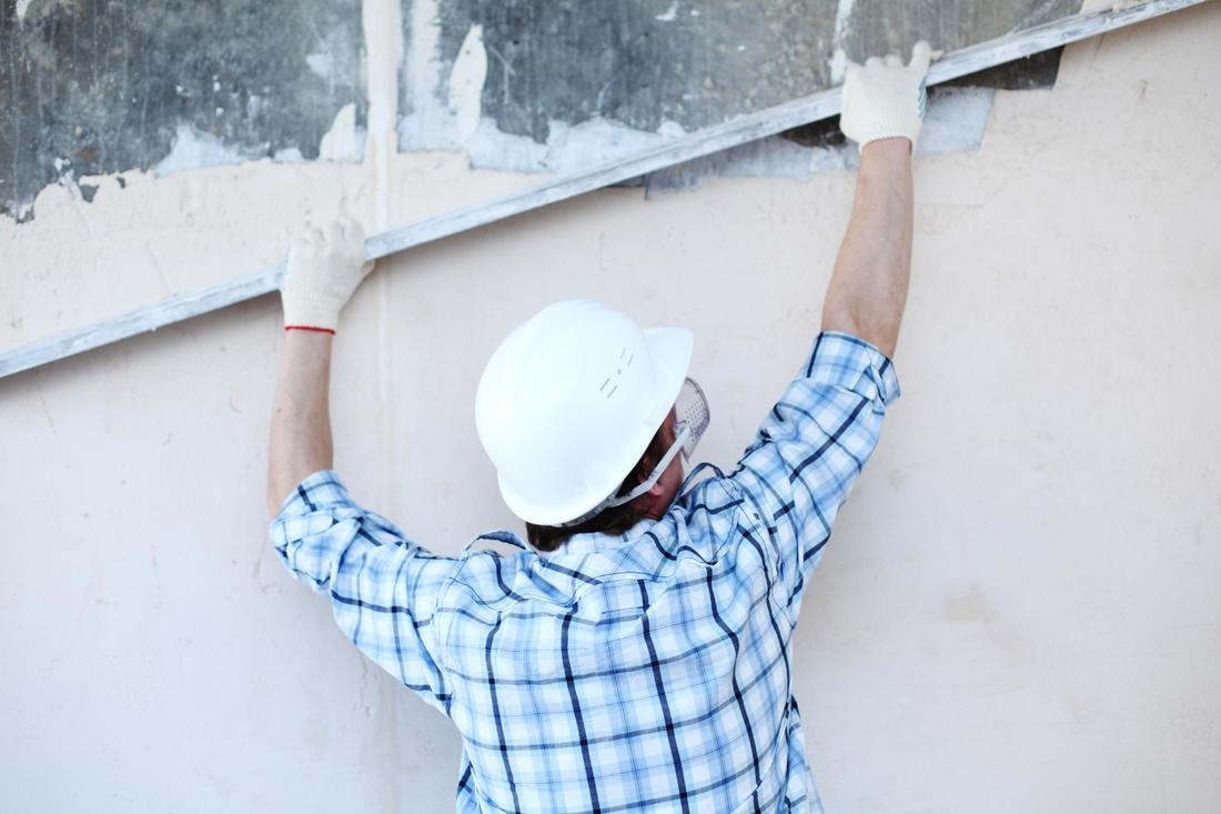 This is a picture of a stucco wall repair.