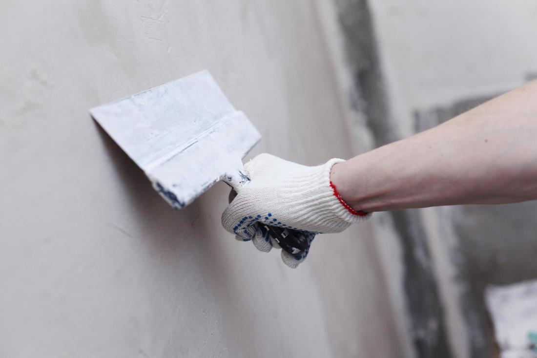 This is a picture of a concrete wall repair.